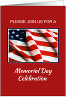 Memorial Day Event Invitation, Flag on Red, White, Blue card