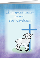 Nephew First Confession, Lamb, Cross card
