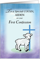 Customizable Cousin, Aiden, First Confession, Lamb, Cross card