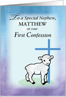 Nephew, Personalizable, Matthew, First Confession, Lamb, Cross card