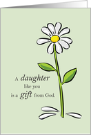 Daughter Thank You, Religious Green Daisy Flower Appreciation, Thank G card