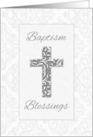 Baptism Blessings, Cross with Swirls card