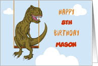 Birthday Custom Name, Age Personalized Dinosaur on Swing card