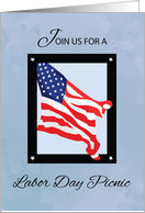 Labor Day Picnic Invitation, Flag, Blue Skies card