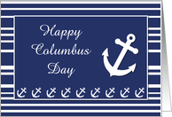 Columbus Day, Nautical Anchor and Stripes card