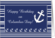Nautical Birthday on Columbus Day, Anchor and Stripes card