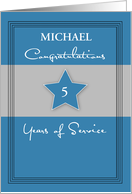 Customizable Employee Anniversary, Service, Blue, Gray, Name and Years card