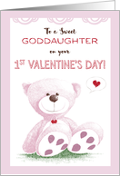 Goddaughter, 1st Valentine's Day, Pink Teddy Bear on Grass card