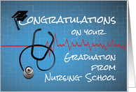 Graduation Nursing School Congratulations Stethoscope on Blue card