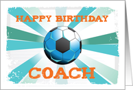 Happy Birthday Soccer Coach Orange on Teal, Blue Starburst card
