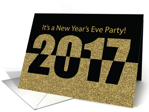 Invitation New Year's Eve Party, 2017, Gold Glitter-Look ...