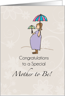 Mother-to-be Congratulations, Pregnant woman with Umbrellas card