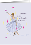 Ballet, Encouragement, Ballerina with Stars, Success card