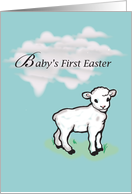 Baby's First Easter with White Lamb, Holiday card