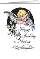 Happy Birthday for Stepdaughter with Angel Illustration, Religious card
