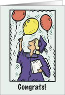 Graduate Girl Celebrating Balloons card