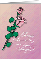 Happy Wedding Anniversary to Son and Daughter-in-Law with Roses card