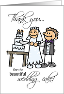 THANK YOU for the beautiful WEDDING CAKE, Stick Figures card