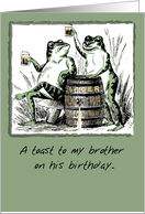 Happy Birthday to Brother with Frogs drinking Beer, Humor card