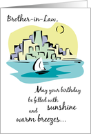 Happy Birthday for Brother-in-Law, Sailboat, Sea and City Illustration card