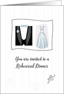 Rehearsal Dinner Invitation with Wedding Dress and Tuxedo Illustration card