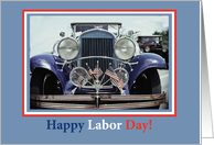 Happy Labor Day with Classic Car with American Flags card