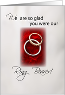 Thank You for Ring Bearer, Wedding Rings on Red background card