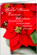 Merry Christmas for Parents with Poinsettias card