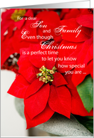 Son and Family Poinsettia Seasons Greetings, Christmas card