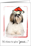 Merry Christmas with Shih Tzu Dog and Santa Hat card