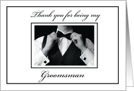 Thank You to Groomsman, Black and White Collection, Wedding card