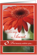 Aunt Valentine's Day with Gerber Daisy Flower, Holiday card
