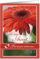 Aunt VALENTINE Gerber Daisy The Beauty Within card