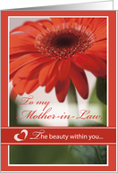 MOTHER-in-LAW VALENTINE Gerber Daisy The Beauty Within card