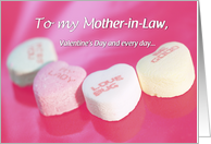 Mother-in-Law Valentine's Day with Candy Hearts on Pink, Holiday card