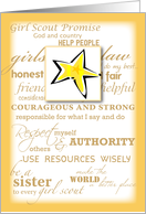 Girl Scout Gold Award, Congratulations with Star, Promise and Law card