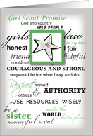 Girl Scout Silver Award Congratulations with Star, Promise and Laws card