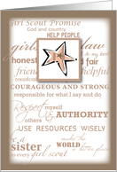 Girl Scout BRONZE Award Congratulations with Star, Promise and Laws card