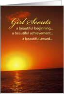 Girl Scout AWARD Congratulations with Sunrise and Sea card
