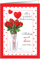 Mother-in-Law Red Roses, Hearts Valentines Day card