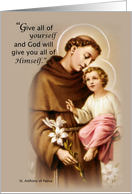 ST. ANTHONY of PADUA Feast Day Quote card