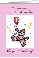 Great Granddaughter, 1st Birthday with Teddy Bear & Balloon, Toddler card