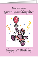 Great Granddaughter 2nd Birthday with Teddy Bear, Balloon & Confetti card
