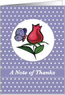 SUPPORT, Thank You with Butterfly and Red Rose, Nature card