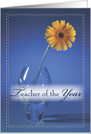 Teacher Of The Year Award, Congratulations with Yellow Daisy in Vase card