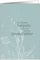 Sympathy loss of GRANDFATHER with Wildflowers and Leaves, Condolences card