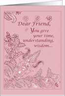 FRIEND on Mother's Day Pink Paisley card