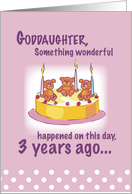 Goddaughter 3rd Birthday with Teddy Bears, Candles and Cake card