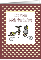 55th Birthday Shoes Woman card