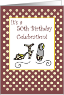 50th Birthday Invitation Shoes Woman card